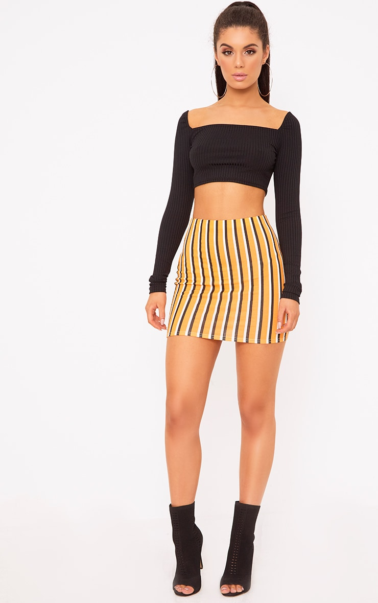 Orange Jersey Stripe Mini Skirt 5