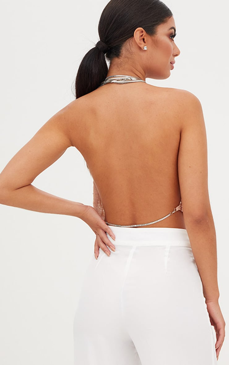 Rose Gold Cowl Neck Sequin Chain Crop Top 2