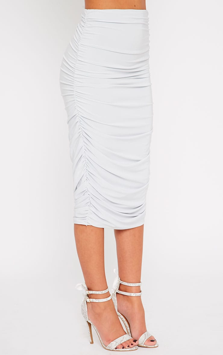 Saylor Ice Blue Slinky Gathered Midi Skirt 4
