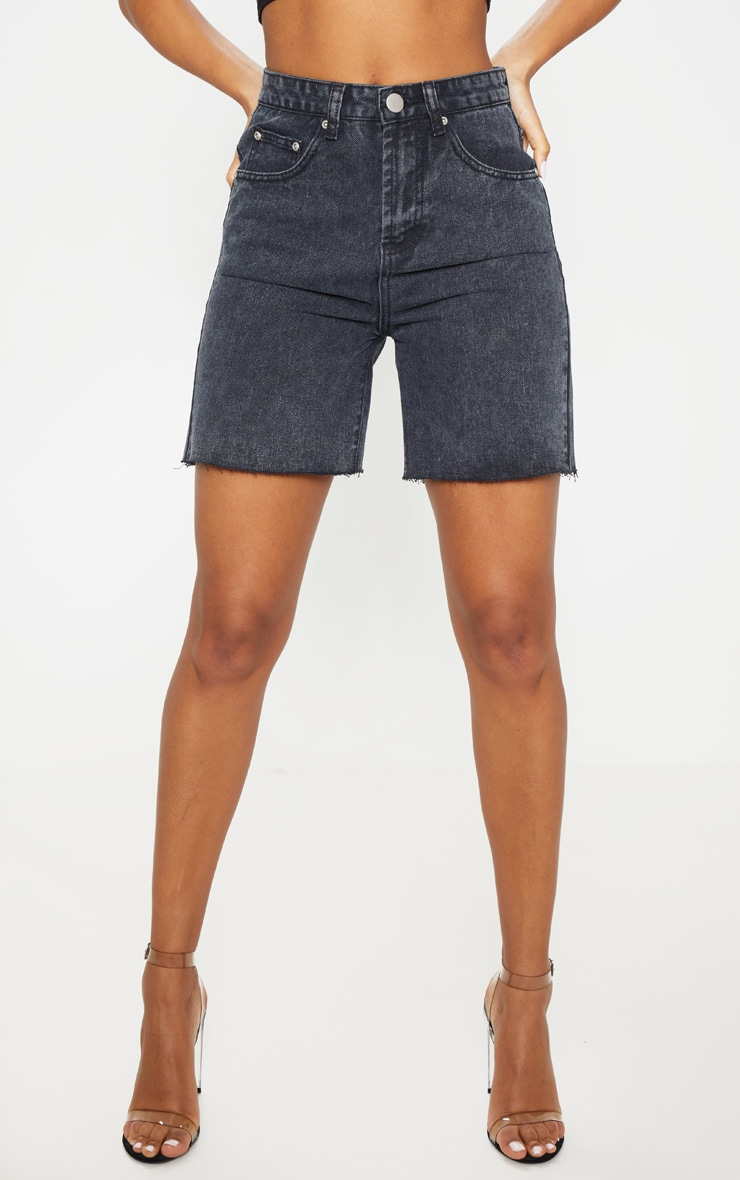 Washed Black Raw Hem Mom Shorts 2