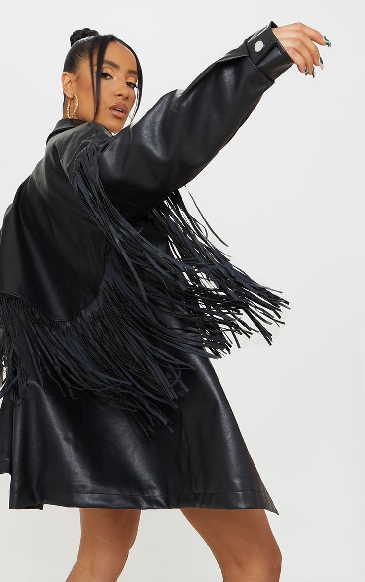 Black Faux Leather Fringe Shacket 4