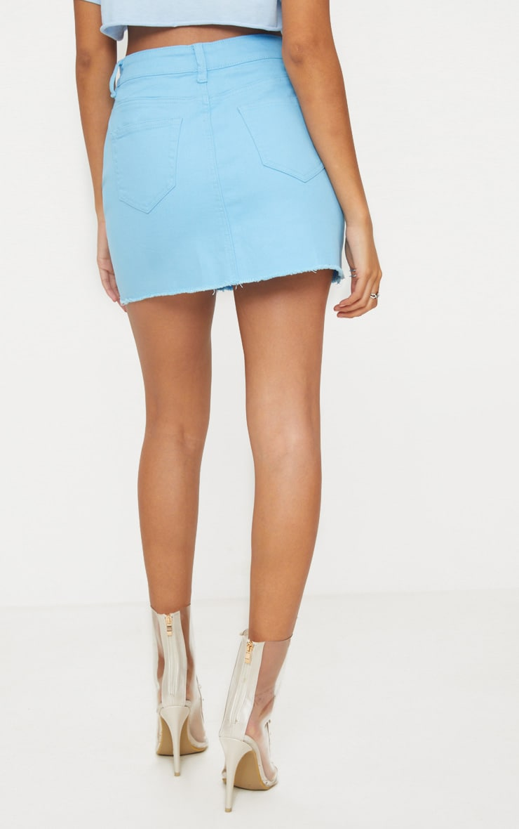 Baby Blue Distressed Denim Mini Skirt 4