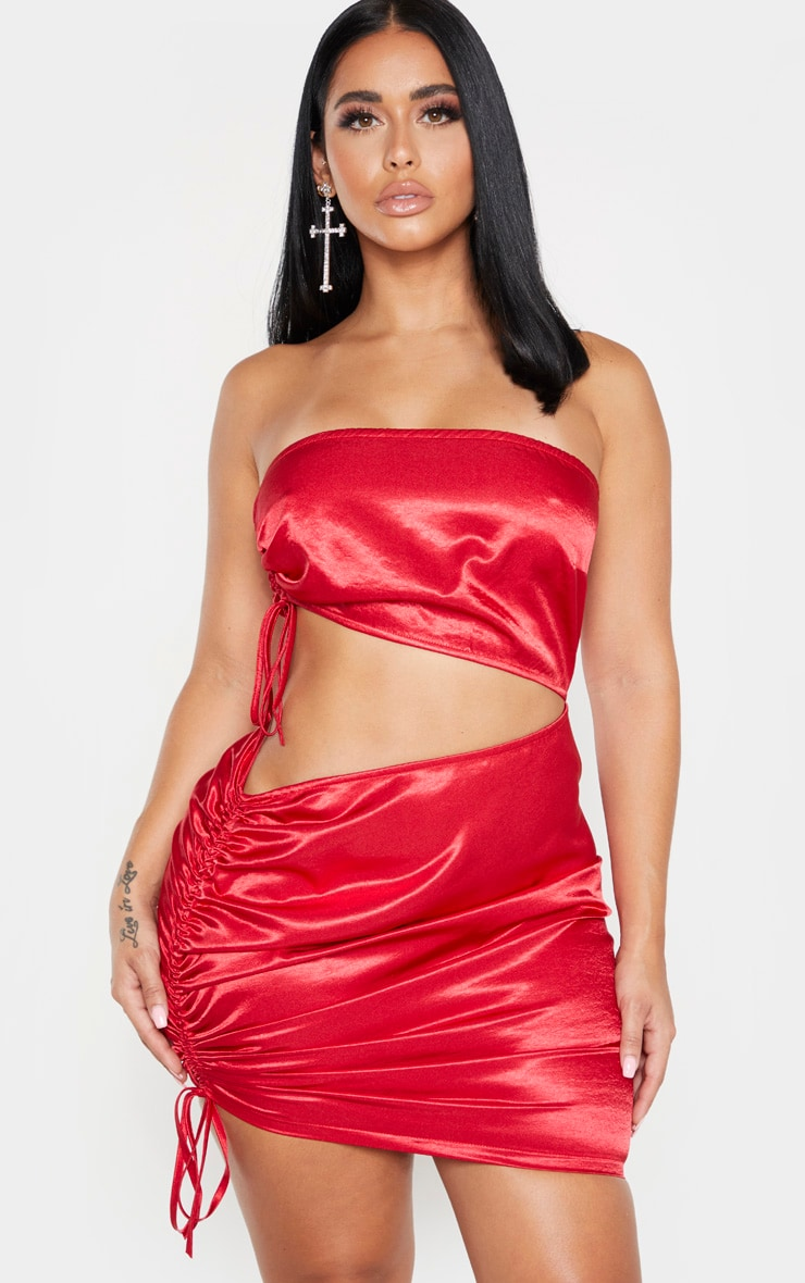 Shape Red Bandeau Ruched Side Cut Out Dress 3