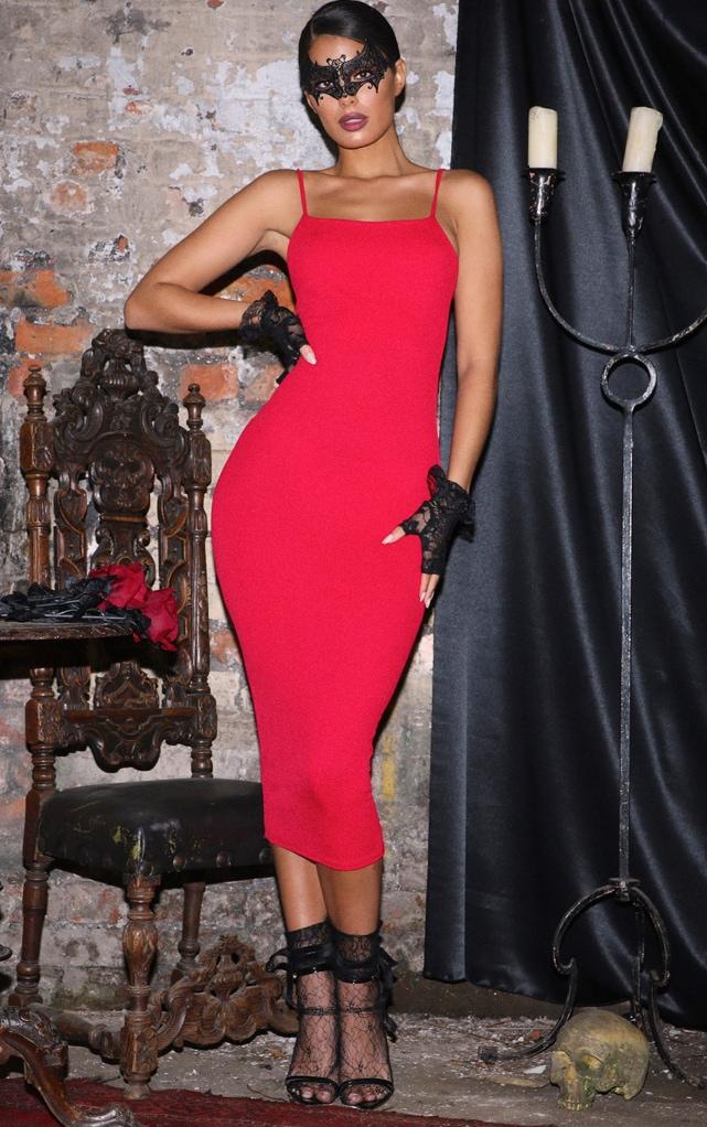 Red Strappy Midi Dress 1