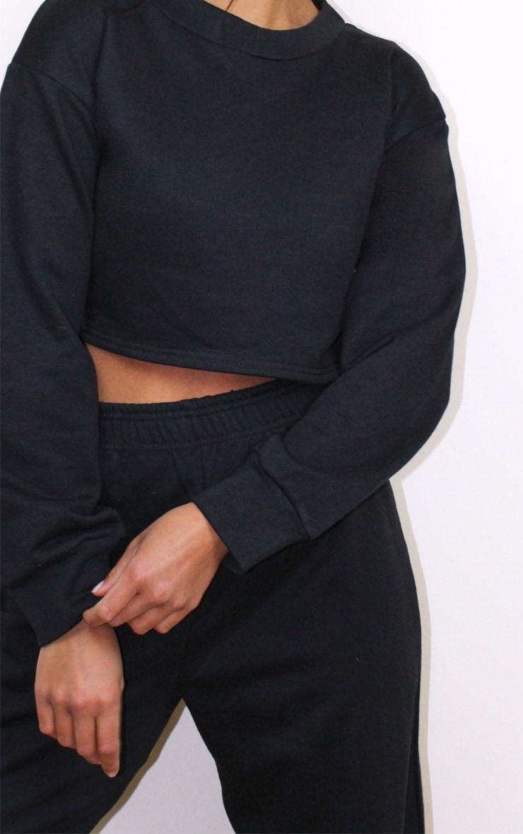 Petite Black Cropped Sweat and Jogger Set 4