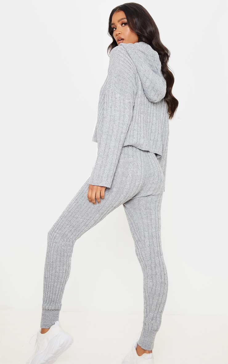 Grey Cable Knitted Hooded Lounge Set 2