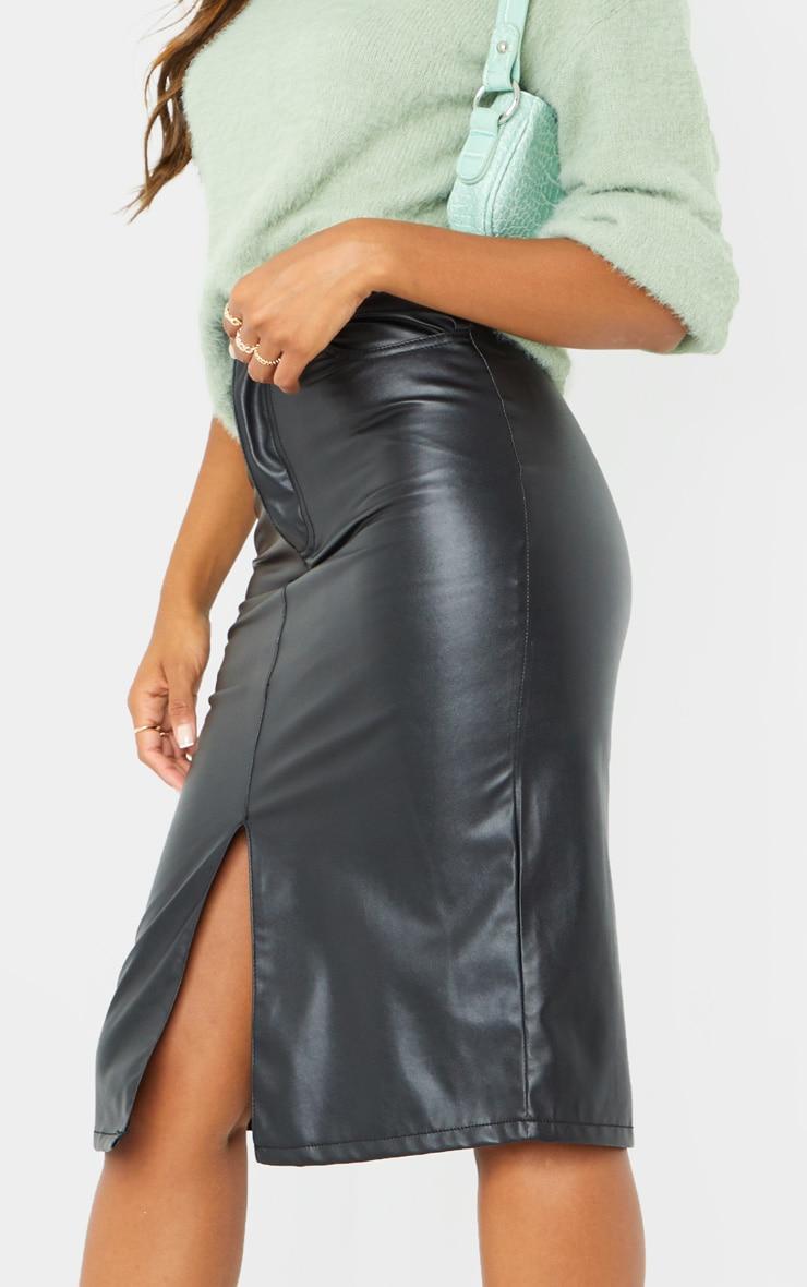 Black Faux Leather Split Hem Midi Skirt 4