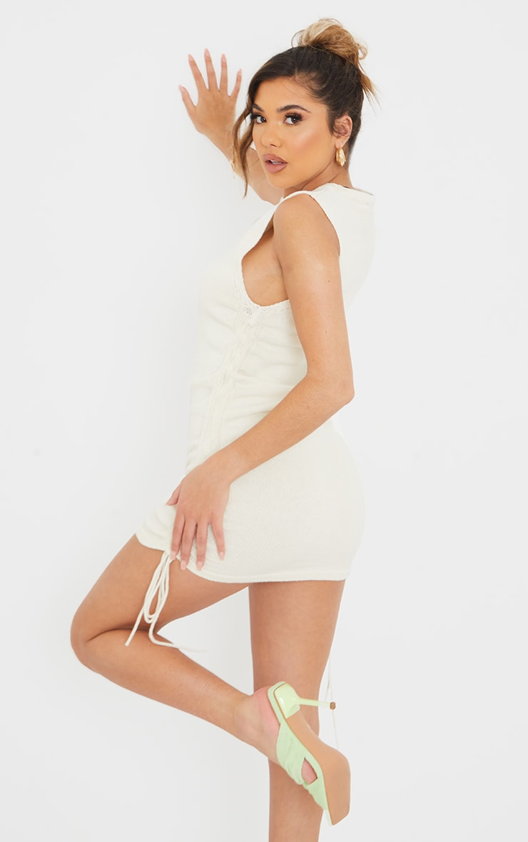 Cream Ruched Tie Side Knitted Mini Dress 2