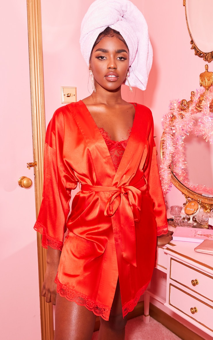 Red Lace Trim Satin Robe 1