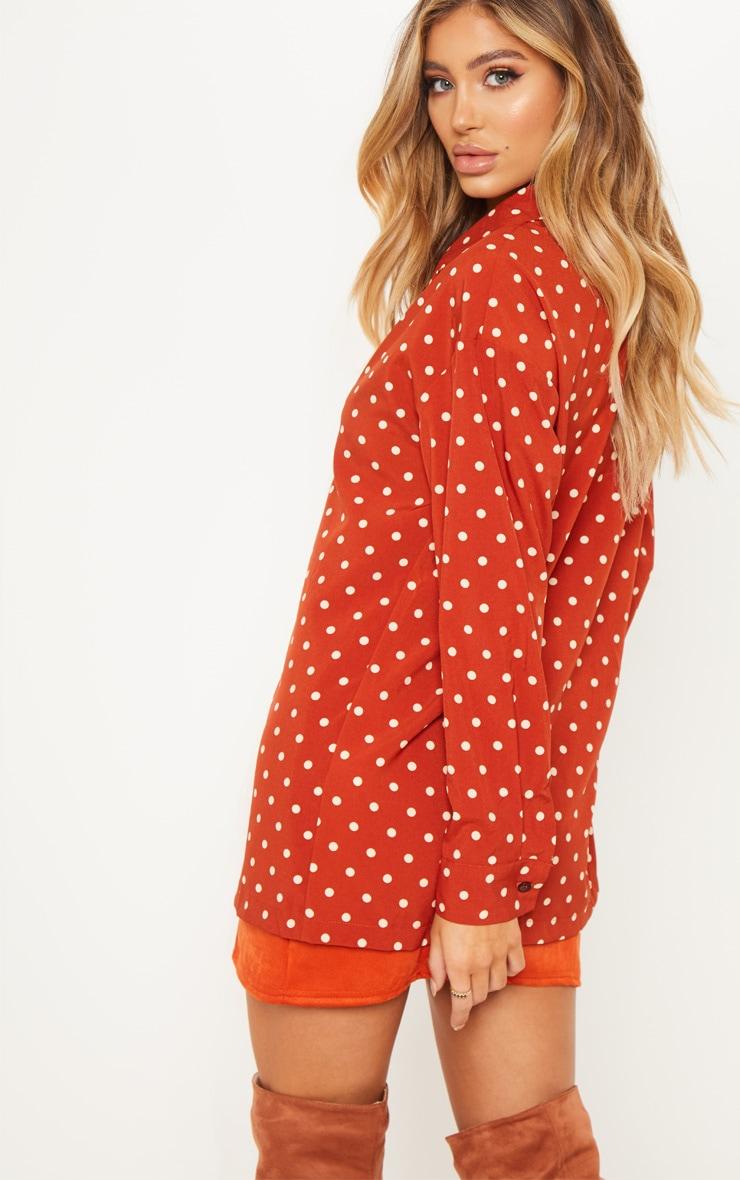 Rust Polka Dot Button Shirt 2