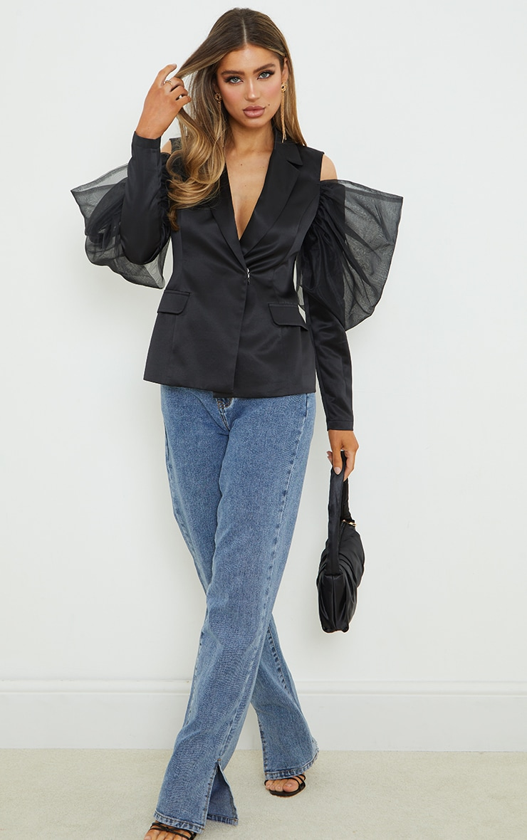 Black Woven Cut Out Puff Sleeve Blazer 1