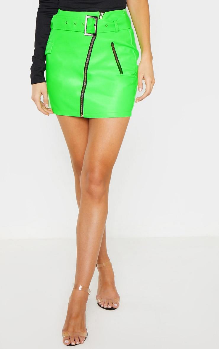 Tall Neon Green Belt Detail Pu Mini Skirt 2