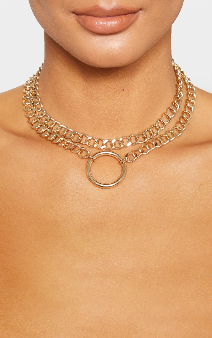 Gold Chunky Chain Double Necklace 2