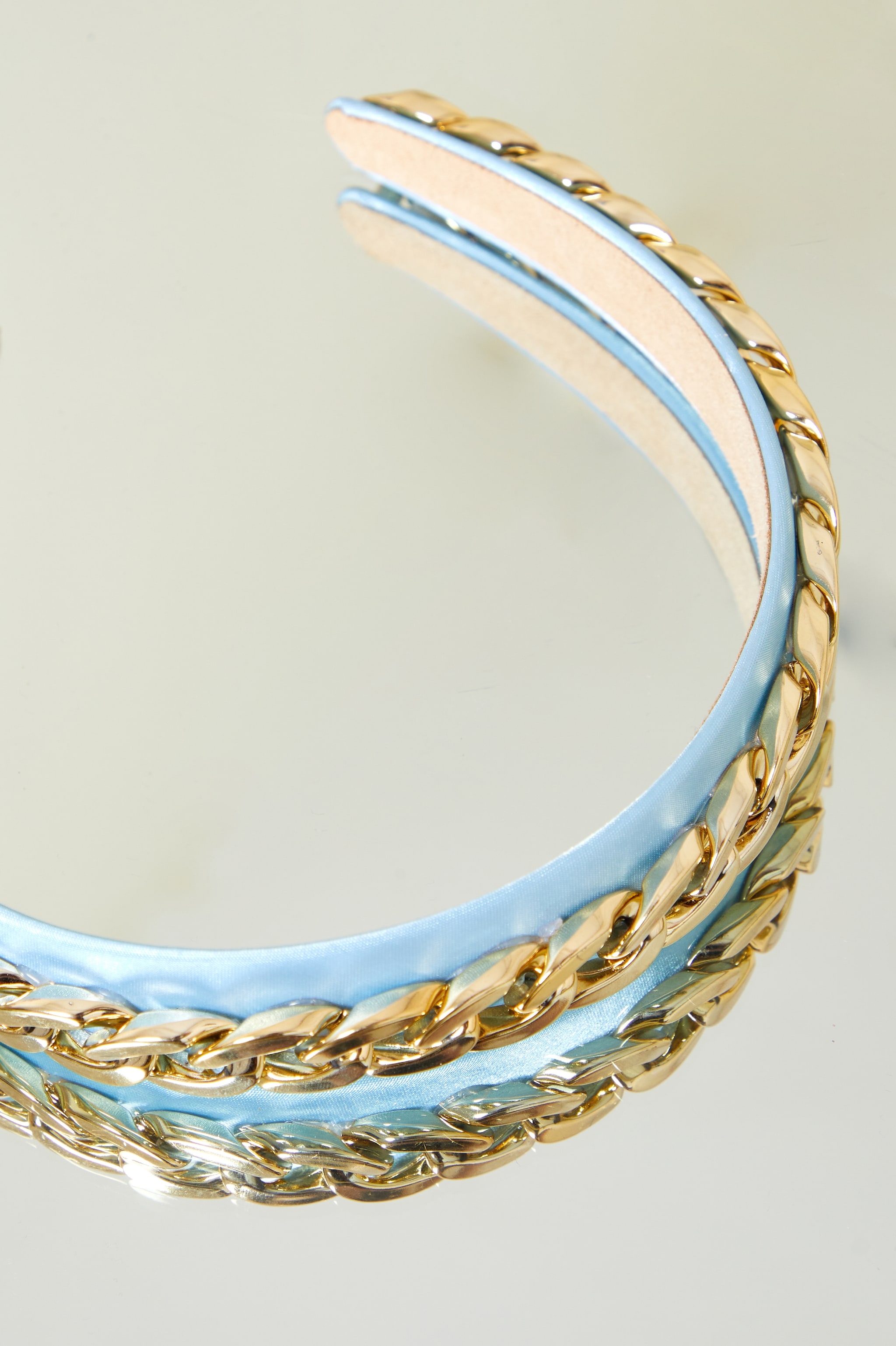 Baby Blue With Gold Oversized Chain Headband 2
