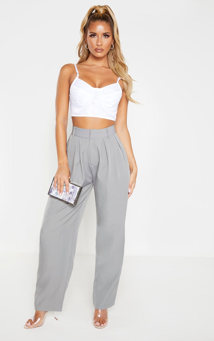 Grey Woven High Waisted Cigarette Leg Pants 1