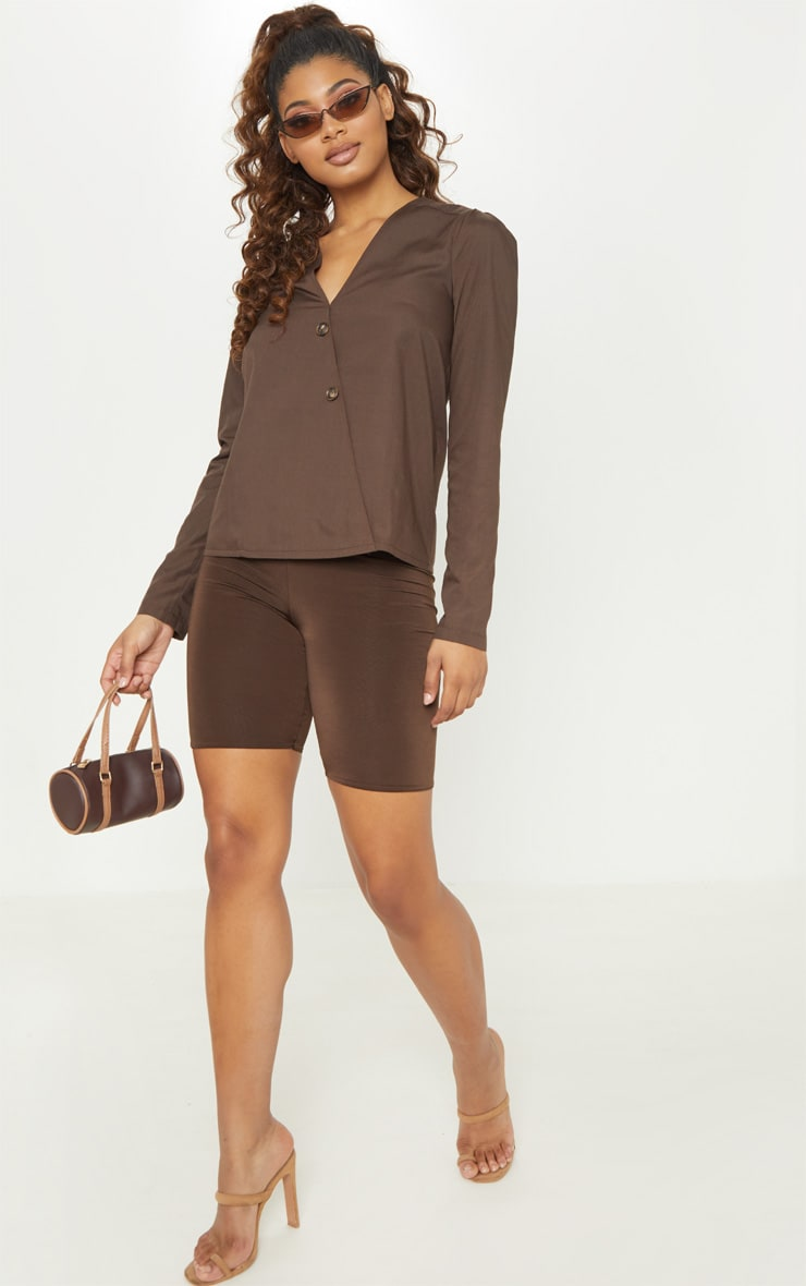 Tall  Chocolate Brown Woven Button Front Blouse 4