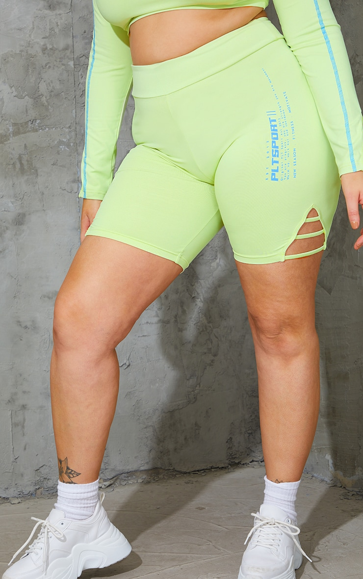 Plus Lime Cut Out Piping Detail Bike Shorts 2