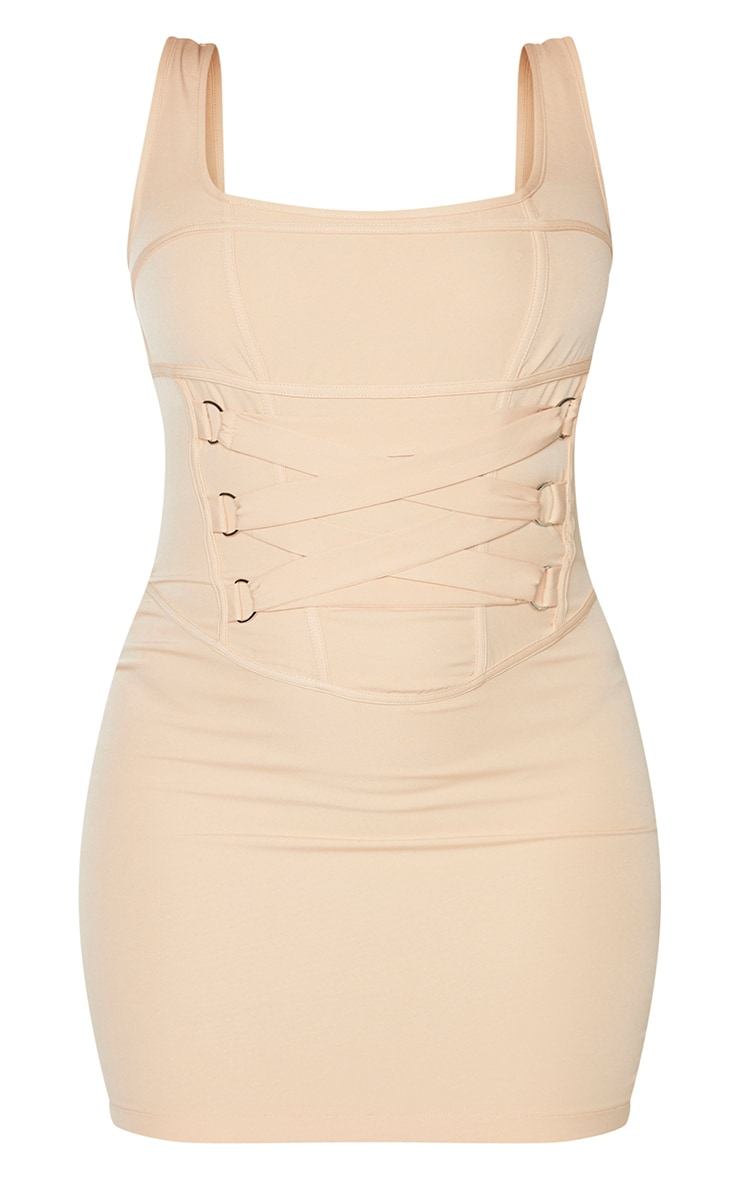 Sand Woven Corset Lace Up Detail Sleeveless Bodycon Dress 5