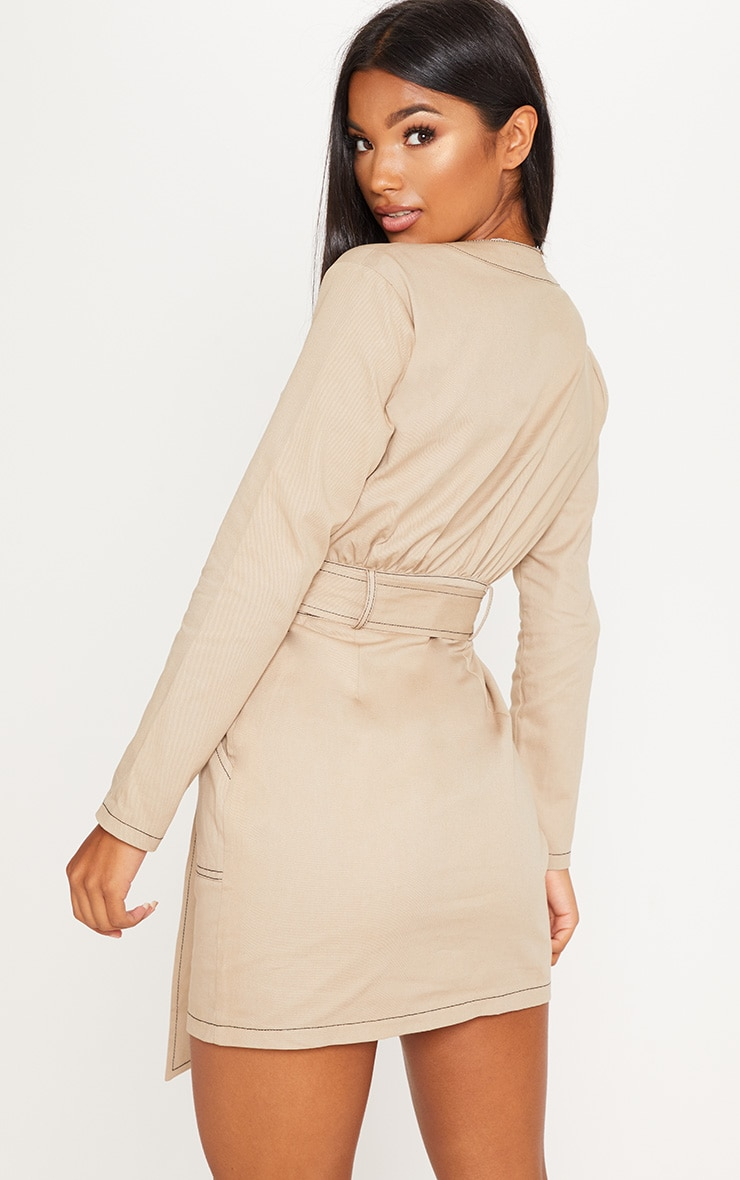 Stone Contrast Stitching Utility Bodycon Dress 2