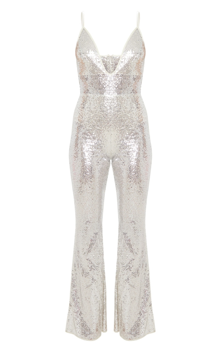 Silver Sequin Strappy Plunge Flared Leg Jumpsuit 4