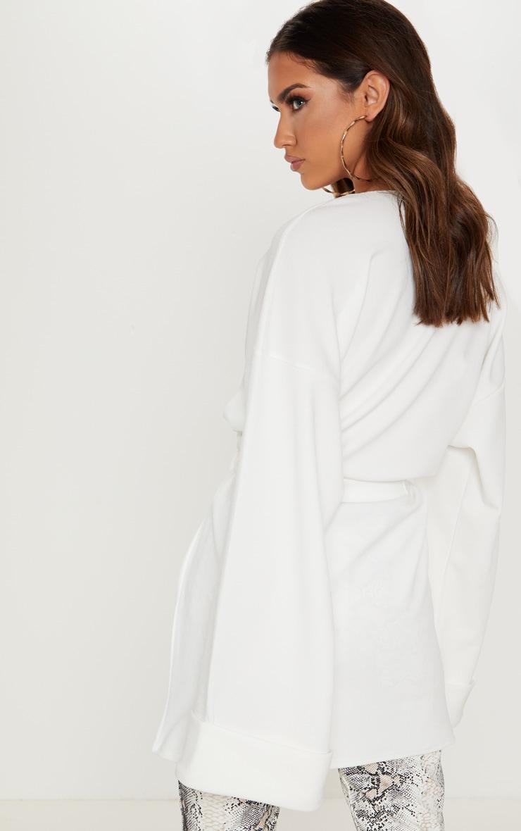 Cream Belted Oversized Sleeve Blazer 2