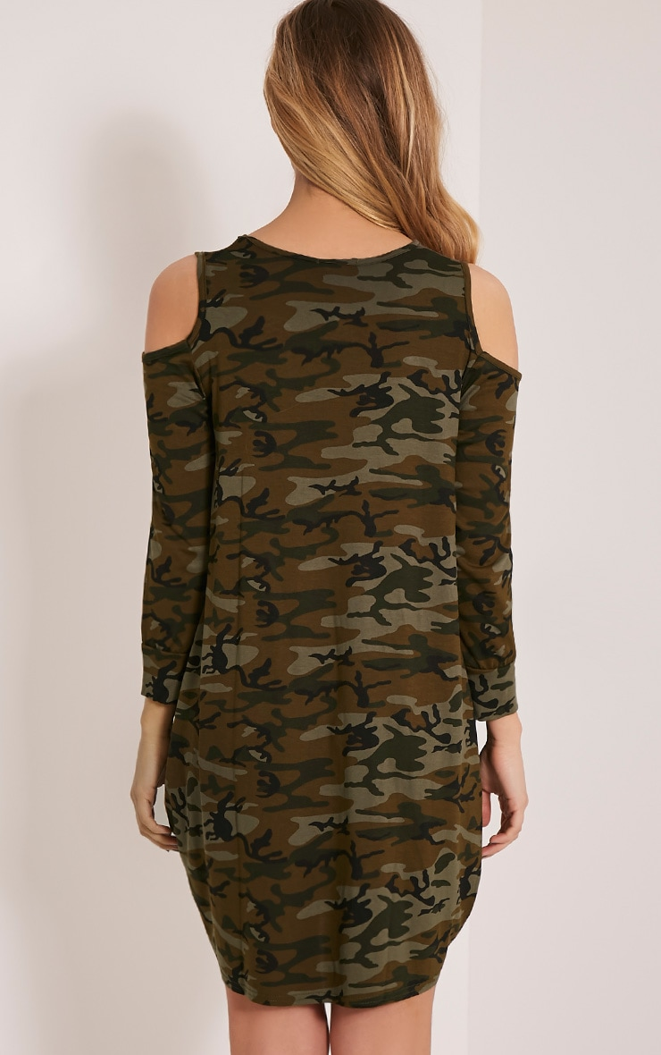 Bronwyn Khaki Camouflage Cold Shoulder Dress 2