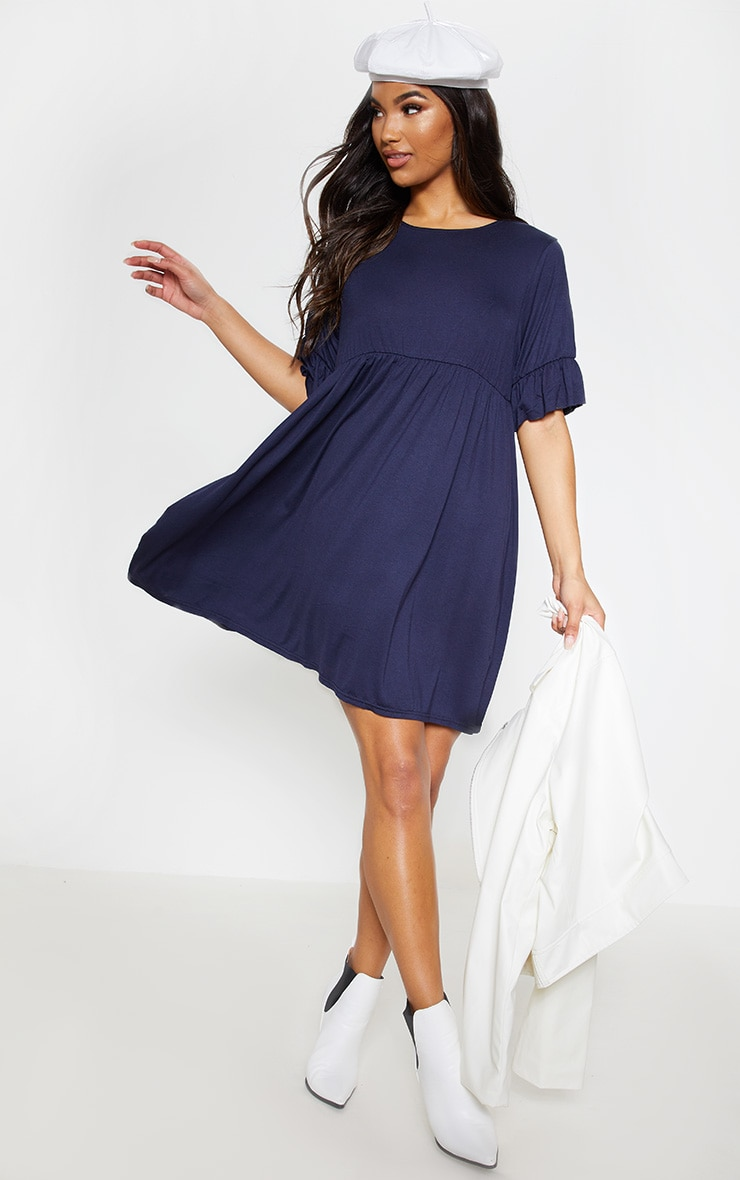 Navy Short Sleeve Smock Dress 4