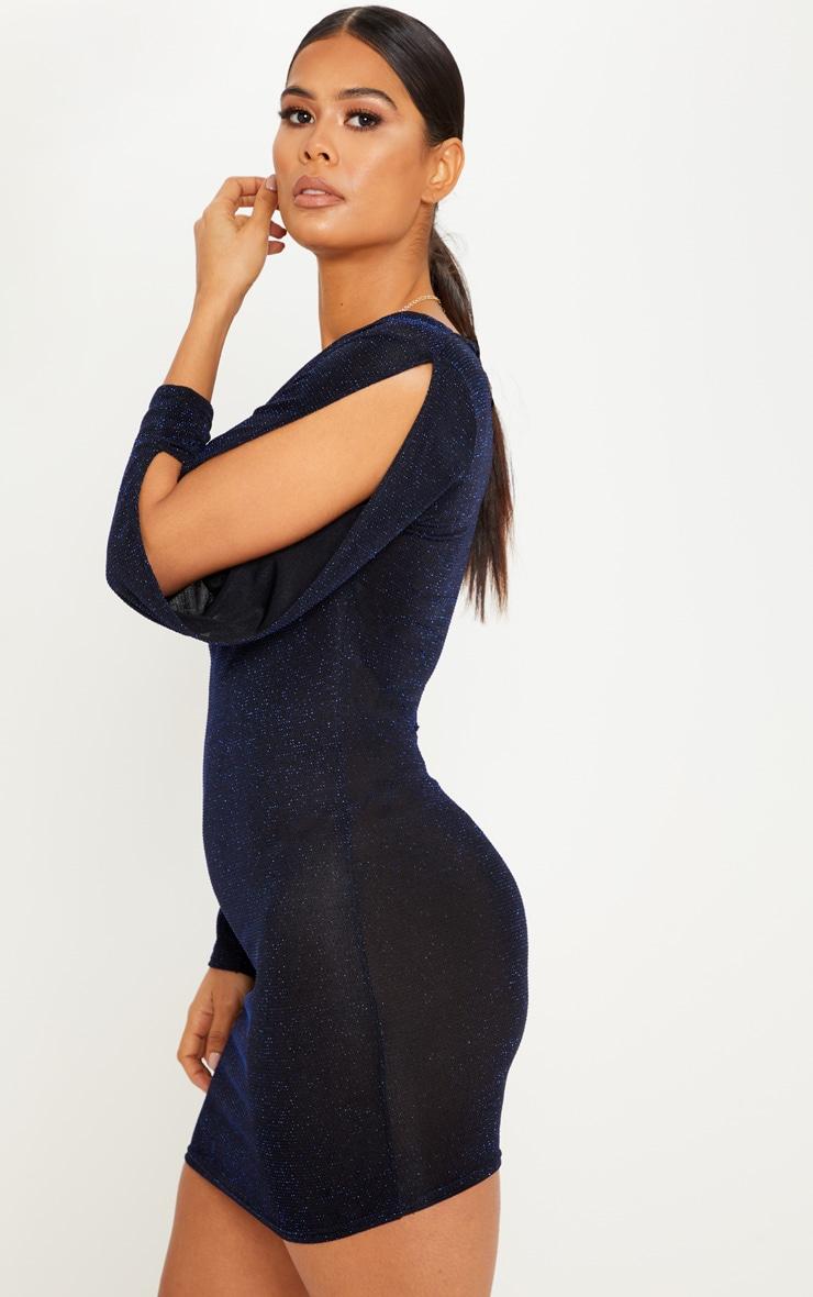 Sheer Blue Off the Shoulder Glitter Open Arm Bodycon Dress 1