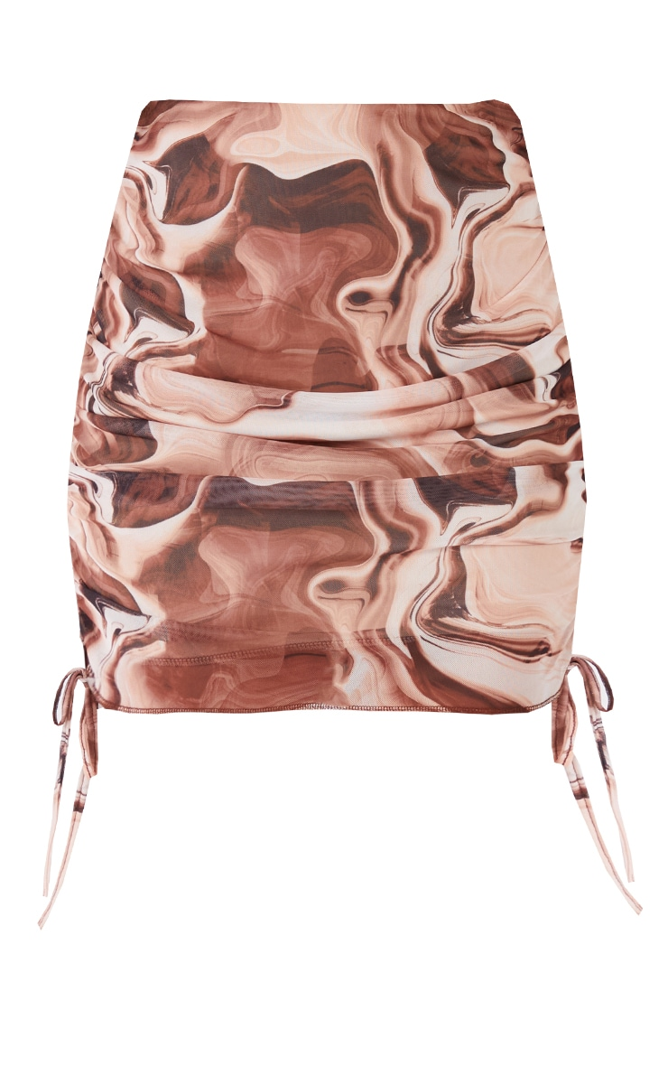 Brown Abstract Printed Mesh Ruched Side Mini Skirt 5