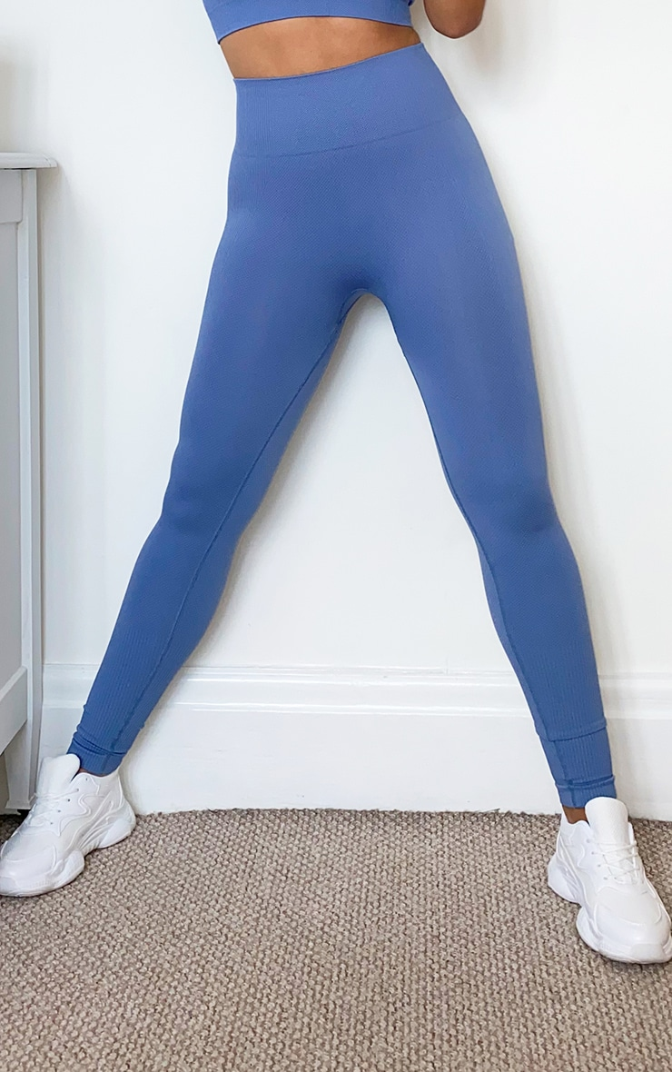 Blue Textured Seamless High Waist Gym Legging 2
