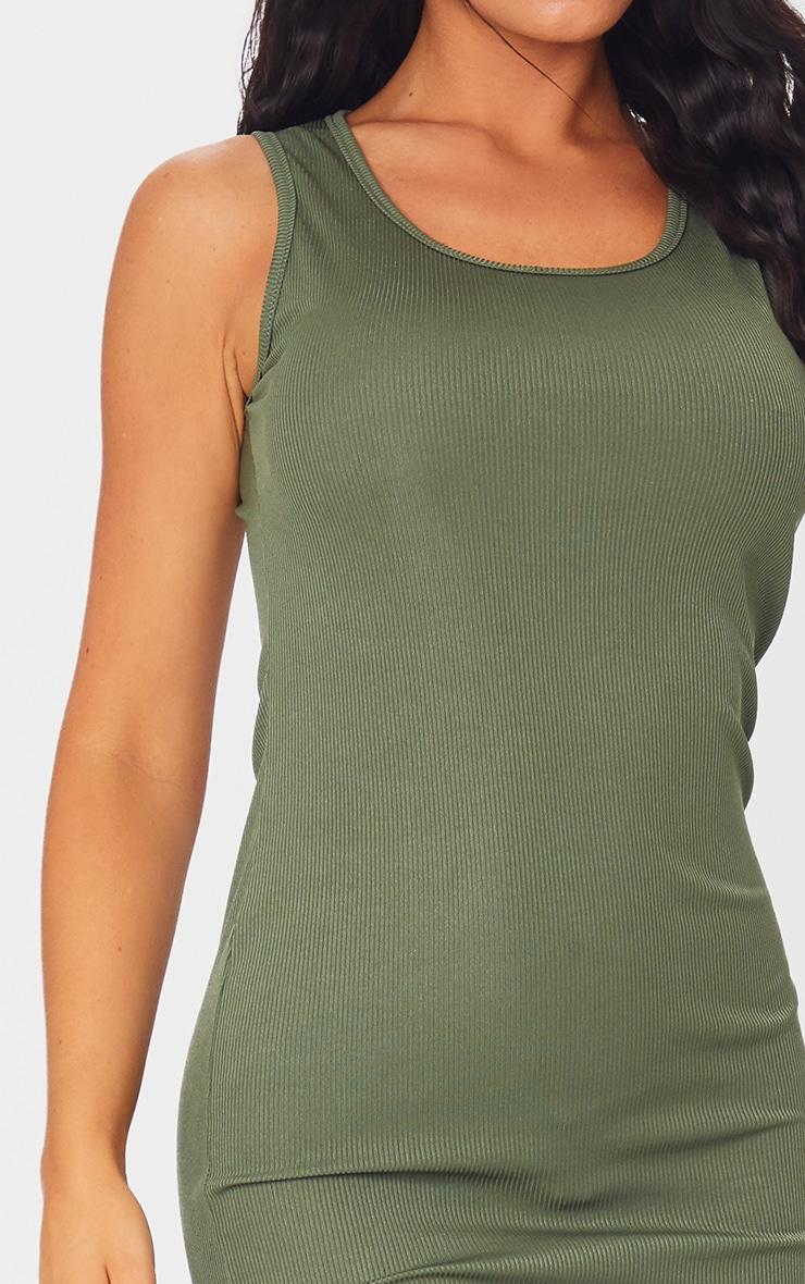 Khaki Basic Rib Maxi Dress 4