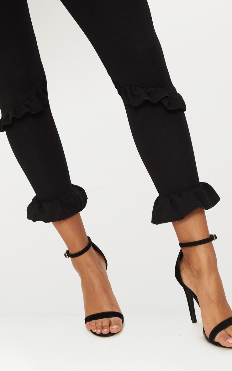 Black Double Ruffle Detail High Waisted Trouser 4