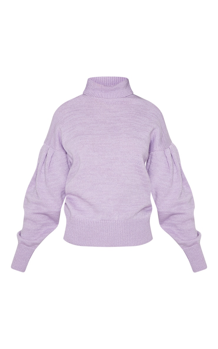 Lilac Oversized Puff Sleeve Roll Neck Jumper 3