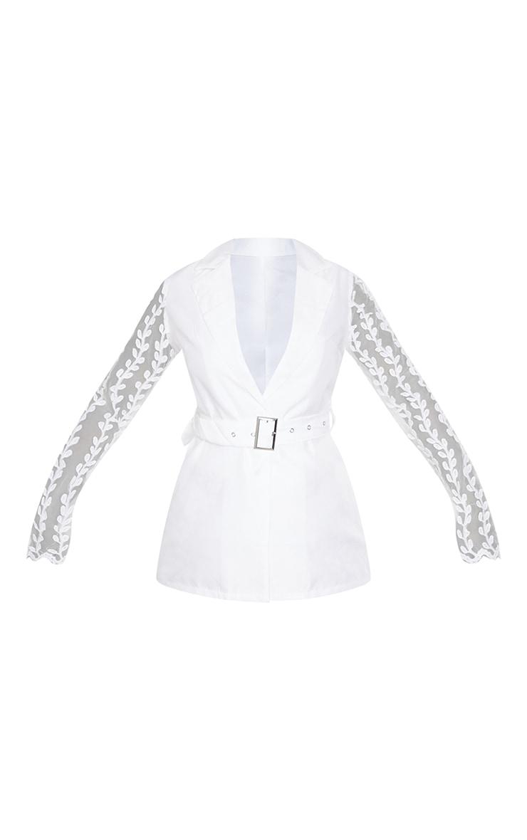 White Woven Lace Sleeve Belt Blazer 5