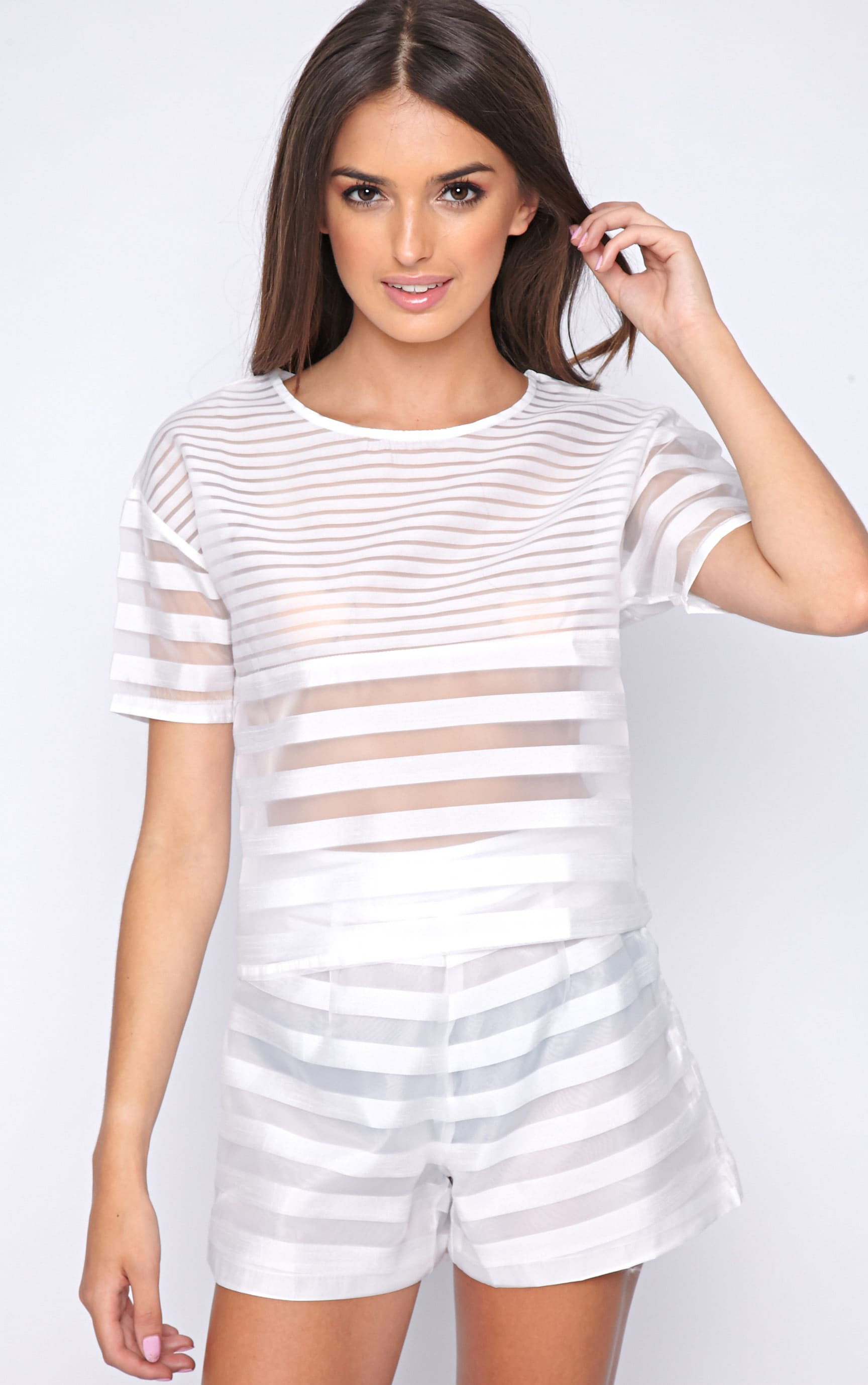 Jen White Sheer Stripe Crop -L 1