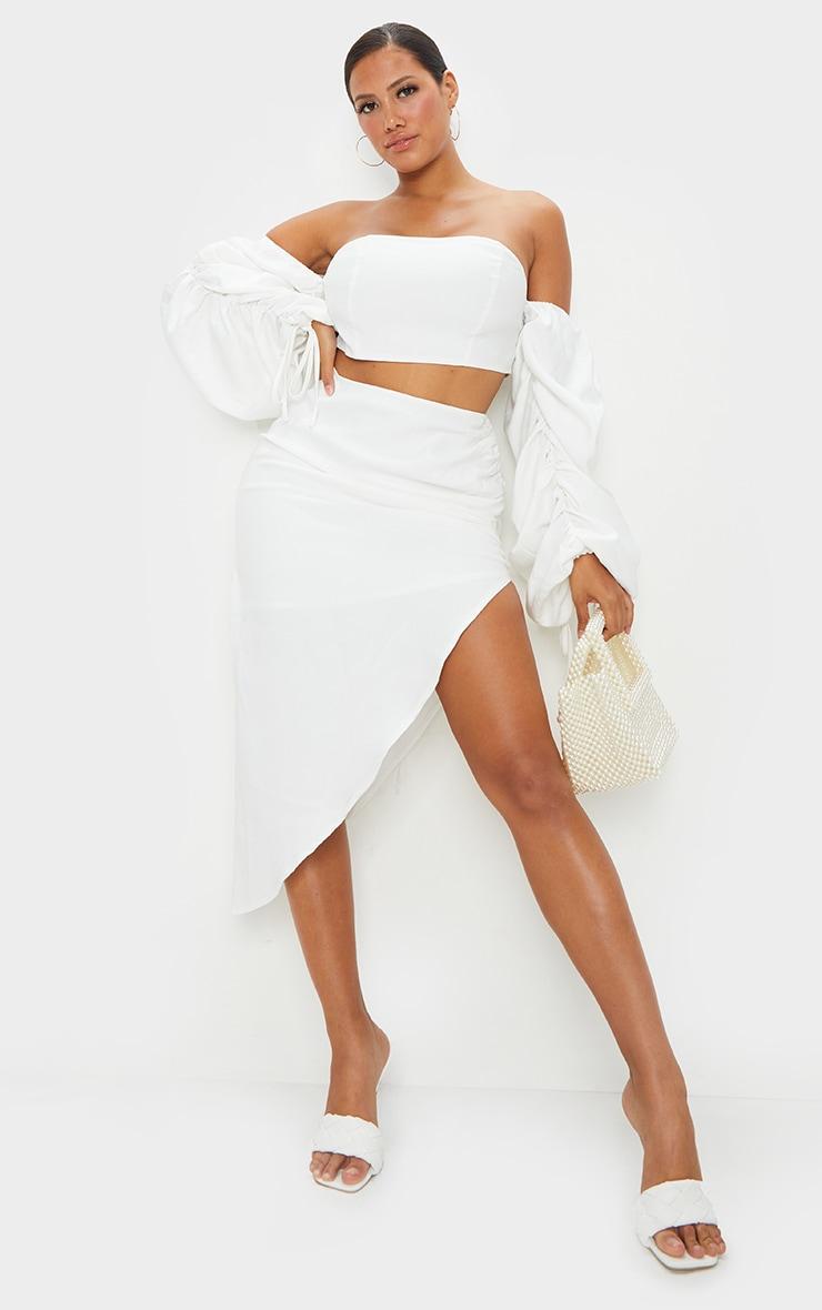 Shape White Ruched Front Midi Skirt 1
