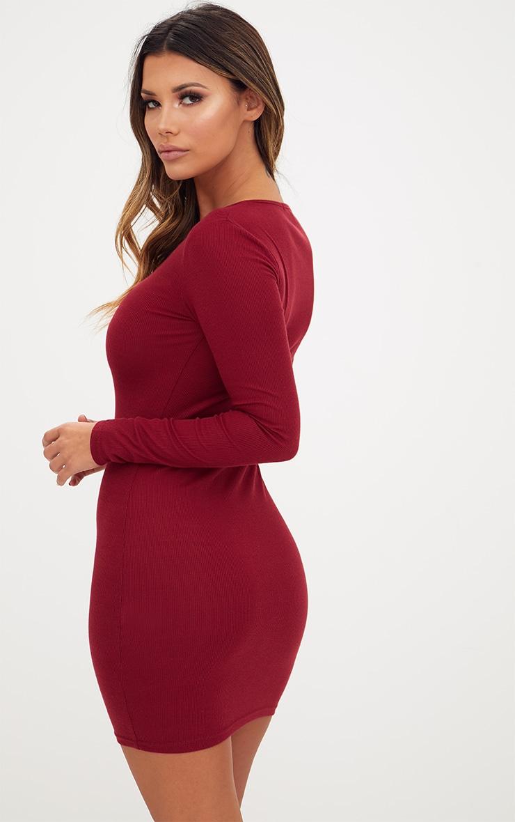 Burgundy Ribbed Long Sleeve Popper Front Dress 2