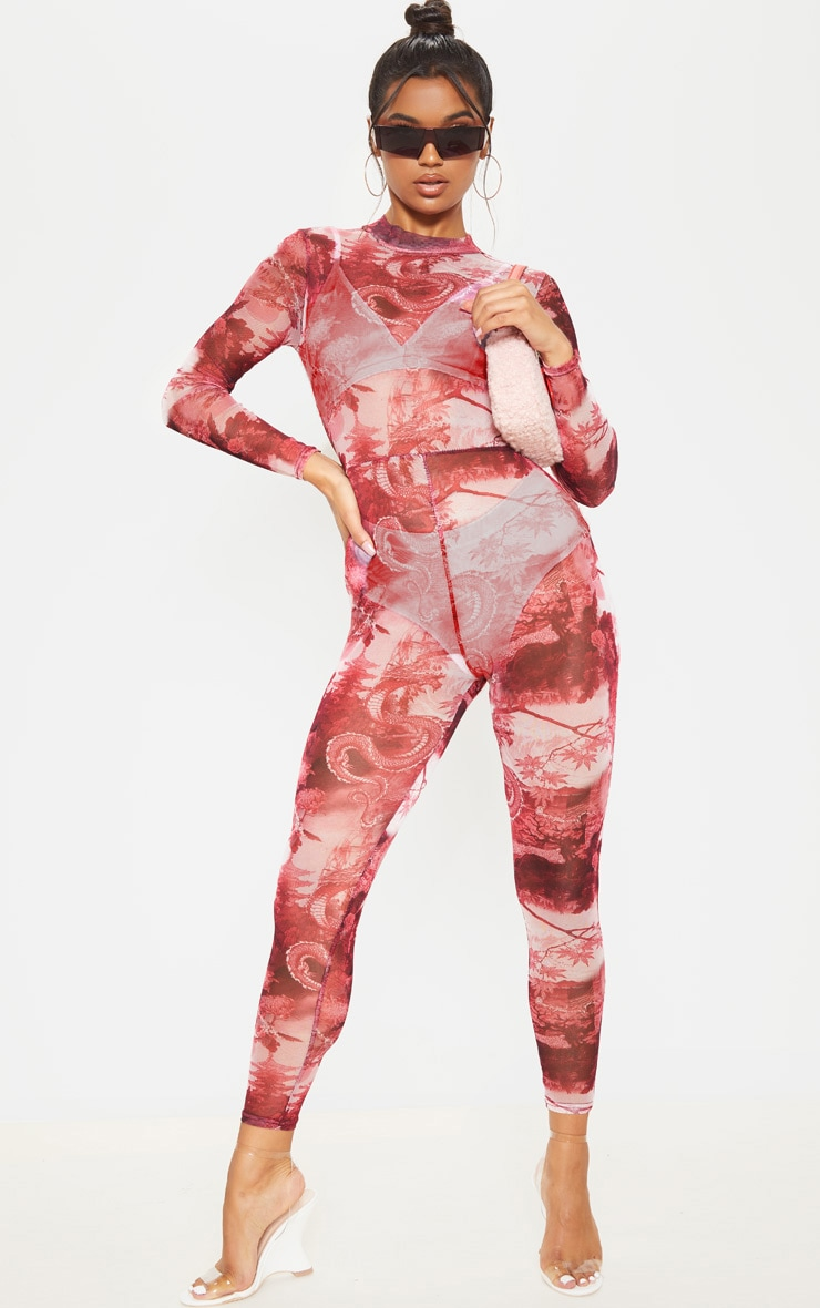 Red Oriental Print Mesh Jumpsuit 1