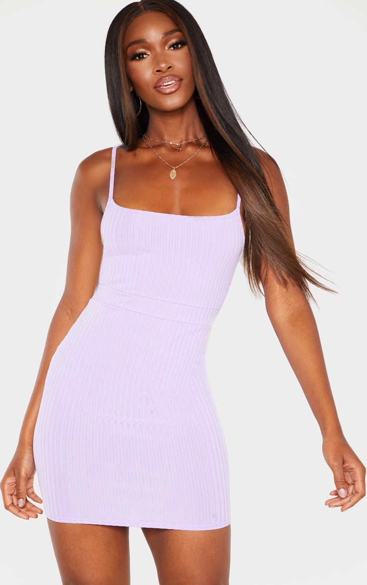 Lilac Ribbed Strappy Back Bodycon Dress 2