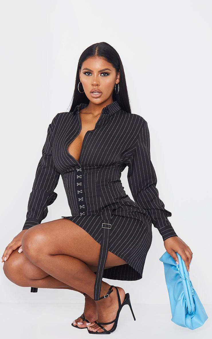 Black Pin Stripe Hook & Eye Suspender Corset Detail Shirt Dress 3