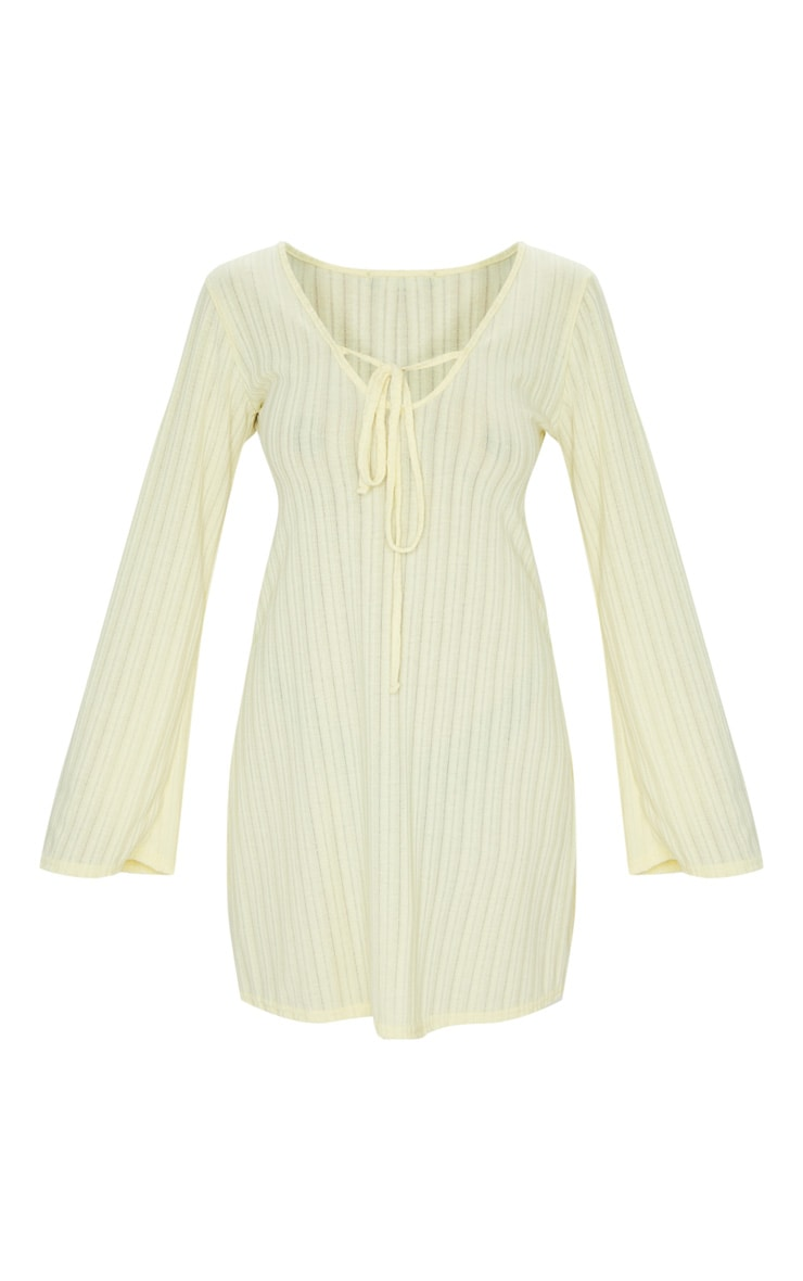 Cream Fine Rib Tie Neck Shift Dress 5