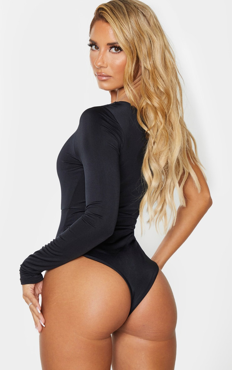 Black Cut Out One Long Sleeve Swimsuit 2