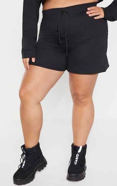 Plus Black Sweat Longline Shorts