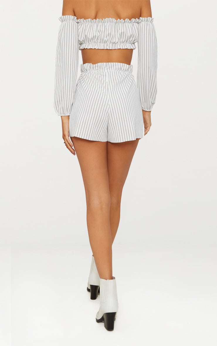 White Ruched Stripe Waist Floaty Shorts 4