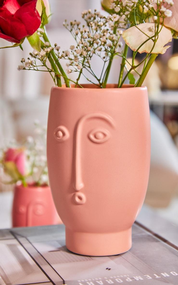 Face Vase Matte Pink 1