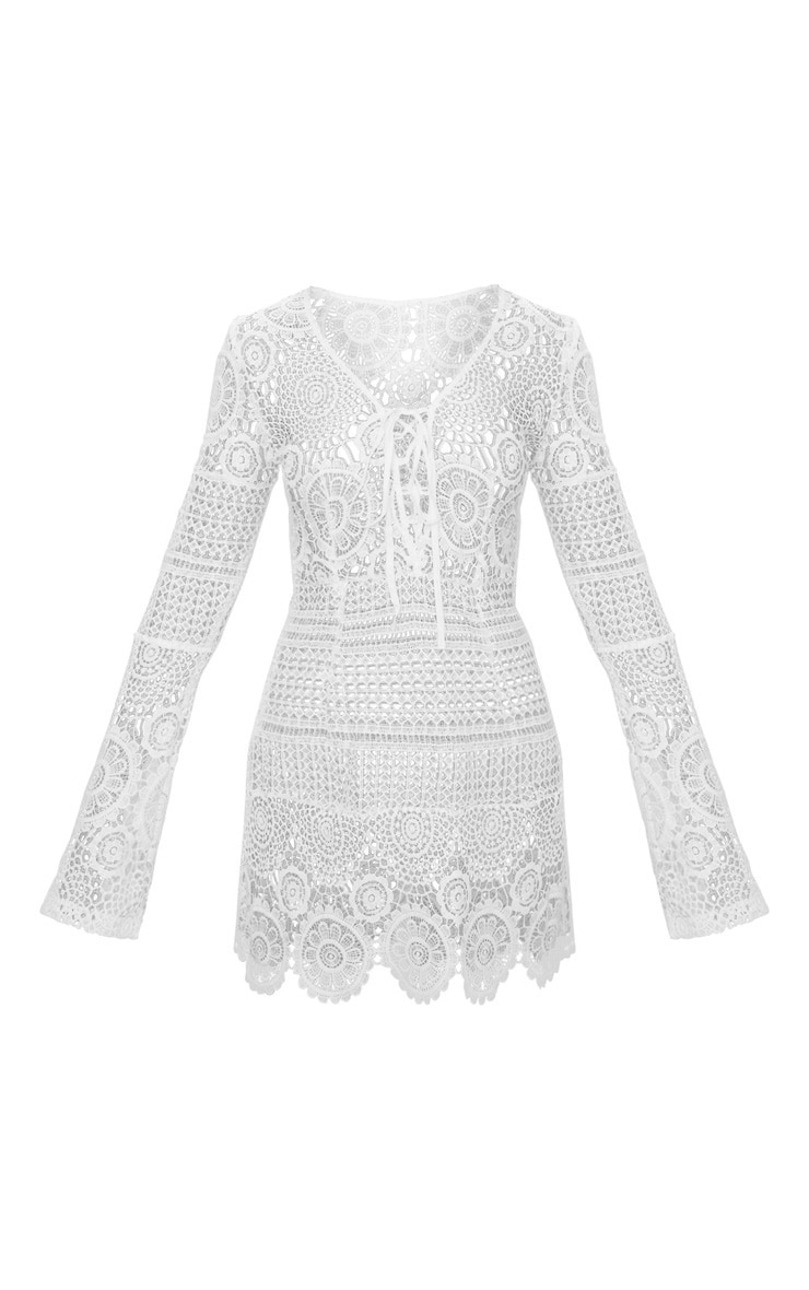 White Tie Front Flare Sleeve Crochet Lace Bodycon Dress 4