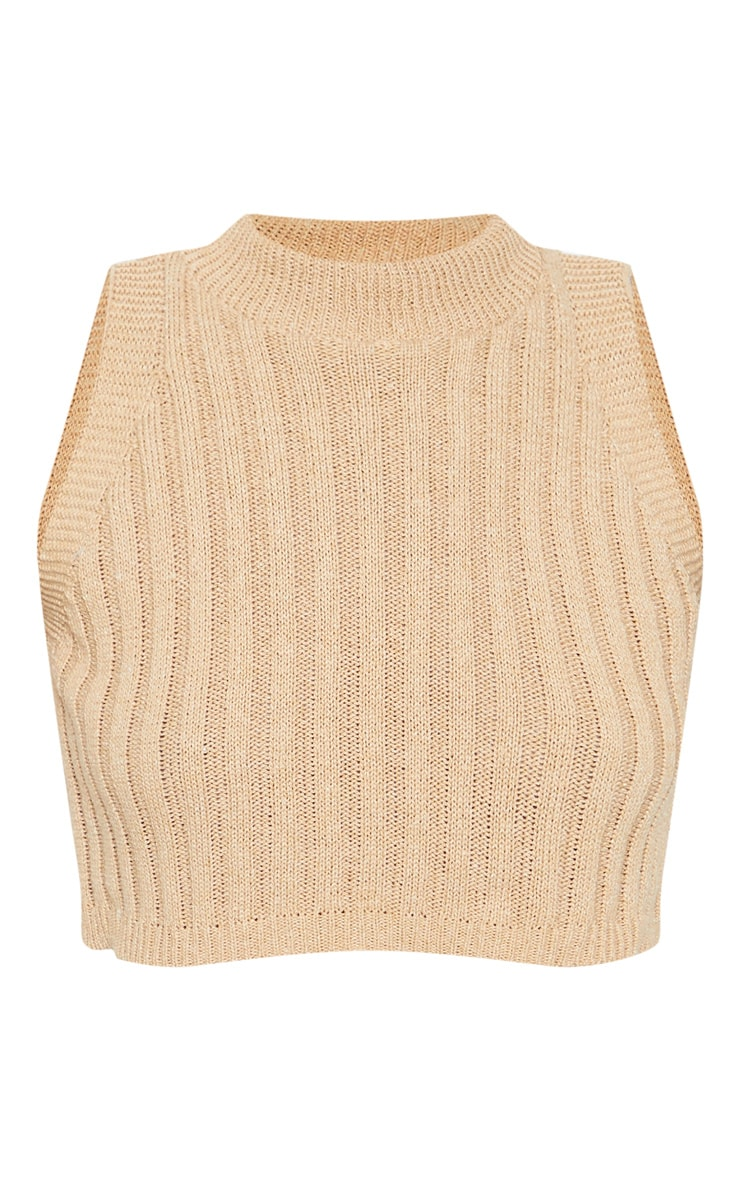 Taupe Ribbed Knitted Crop Top 3