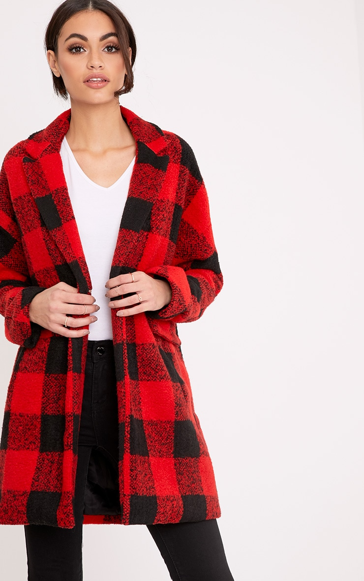 Stefanie Red Checked Oversized Coat 1