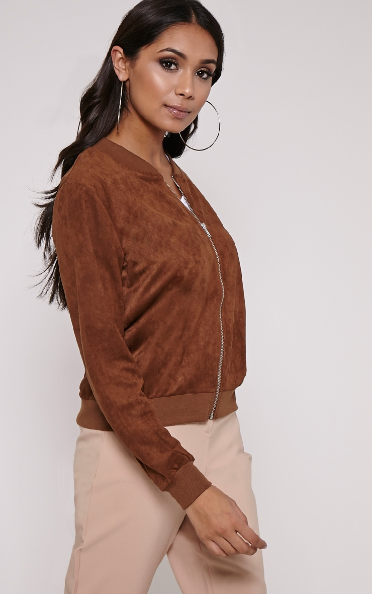 Riva Brown Faux Suede Bomber Jacket 4