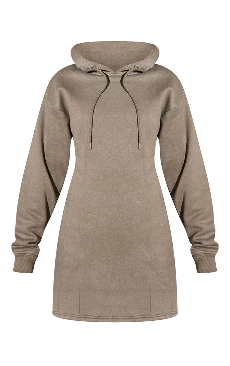 RENEW Light Khaki Pleated Hoodie Sweater Dress 5
